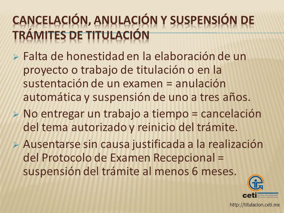 http://titulacion.ceti.mx Falta de honestidad en la elaboración de un proyecto o trabajo de titulación o en la sustentación de un examen = anulación a