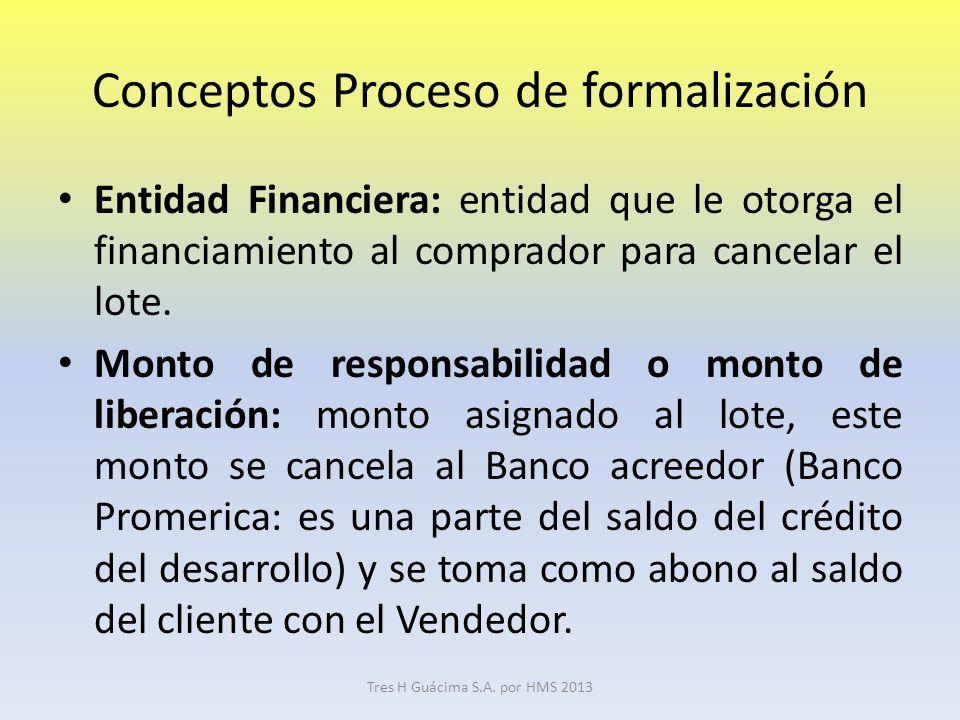 Conceptos Proceso de formalización Entidad Financiera: entidad que le otorga el financiamiento al comprador para cancelar el lote.