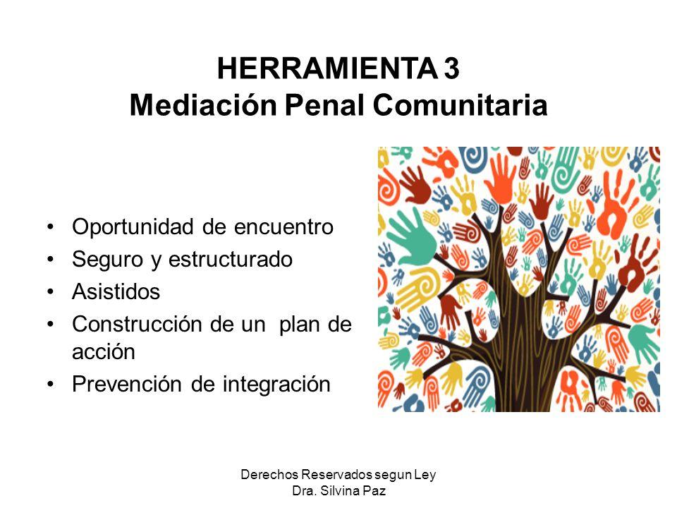 Oportunidad de encuentro Seguro y estructurado Asistidos Construcción de un plan de acción Prevención de integración HERRAMIENTA 3 Mediación Penal Comunitaria Derechos Reservados segun Ley Dra.