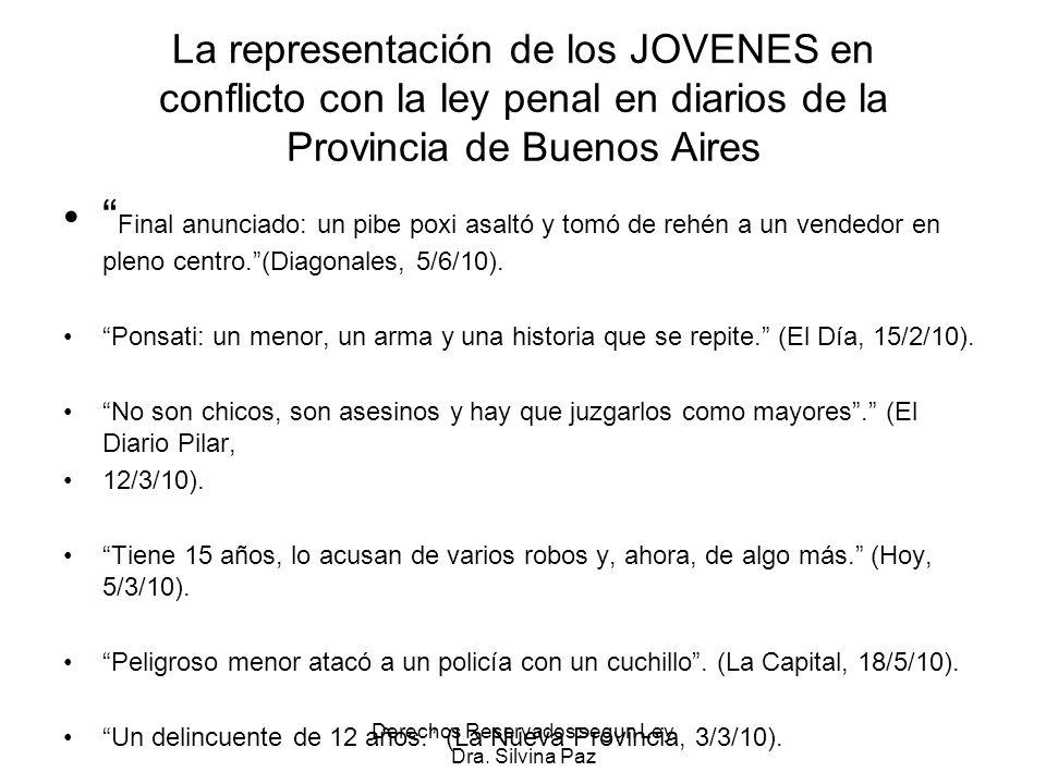 La representación de los JOVENES en conflicto con la ley penal en diarios de la Provincia de Buenos Aires Final anunciado: un pibe poxi asaltó y tomó de rehén a un vendedor en pleno centro.(Diagonales, 5/6/10).