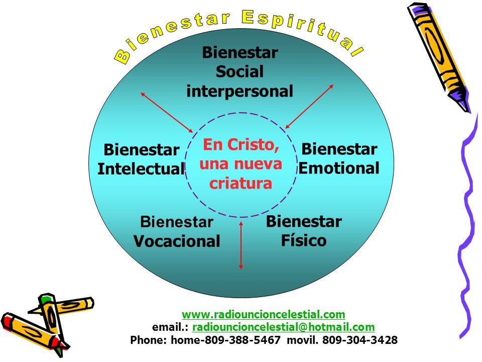 En Cristo, una nueva criatura Bienestar Intelectual Bienestar Emotional Bienestar Vocacional Bienestar Físico Bienestar Social interpersonal www.radio