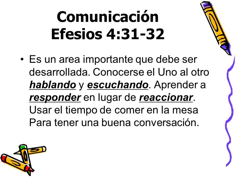 Comunicación Efesios 4:31-32 Es un area importante que debe ser desarrollada. Conocerse el Uno al otro hablando y escuchando. Aprender a responder en