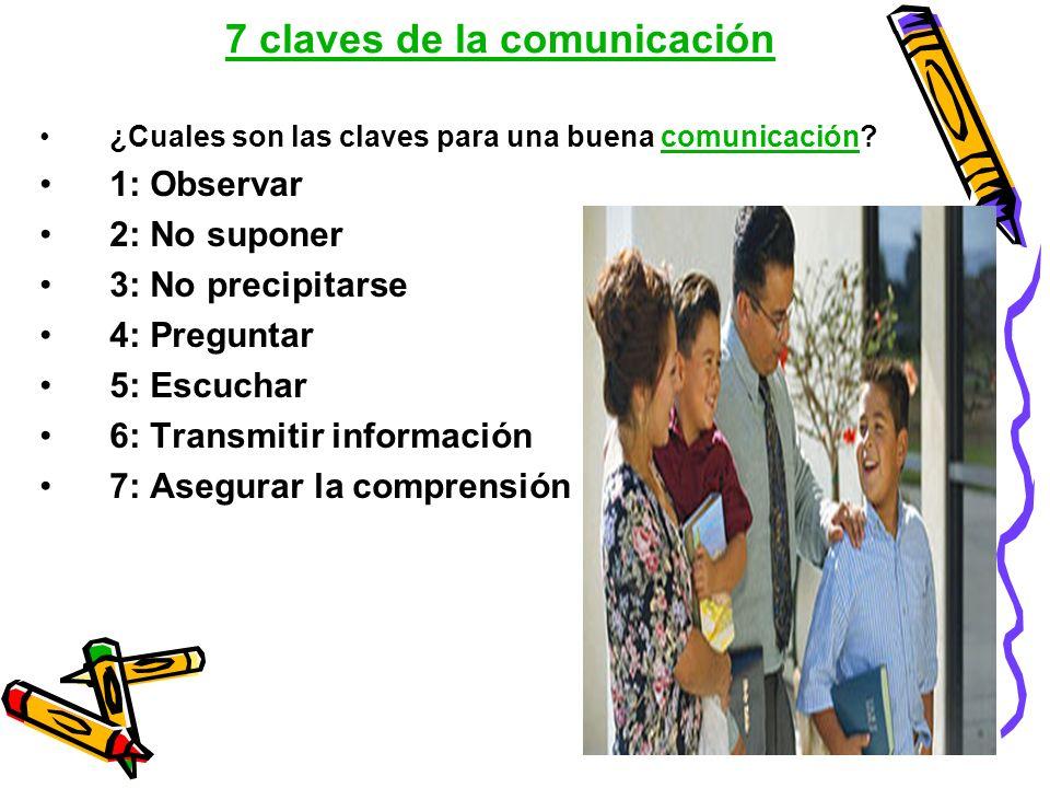 7 claves de la comunicación ¿Cuales son las claves para una buena comunicación?comunicación 1: Observar 2: No suponer 3: No precipitarse 4: Preguntar