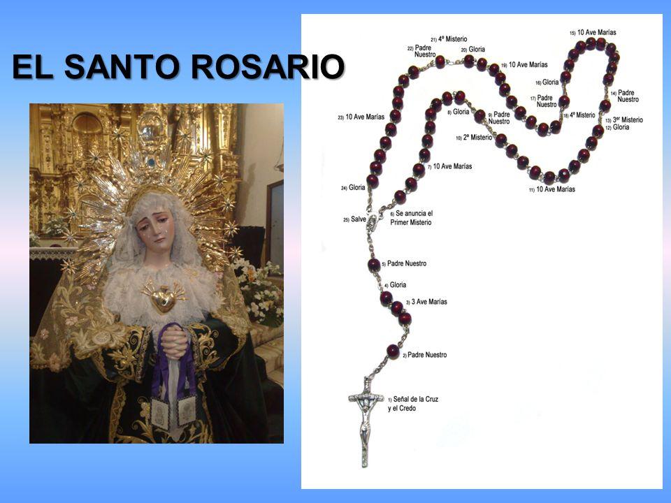 Comenzamos el Santo Rosario así: Nos hacemos la señal de la Cruz: Por la señal de la Santa Cruz, de nuestros enemigos, líbranos Señor Dios Nuestro.