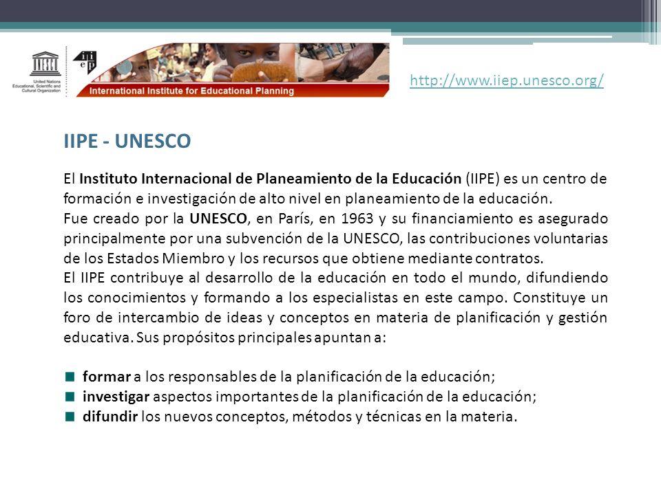 El Instituto Internacional de Planeamiento de la Educación (IIPE) es un centro de formación e investigación de alto nivel en planeamiento de la educac