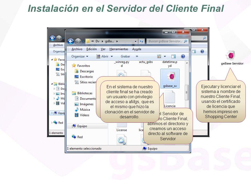 Conexión al Servidor.Uso aMgs. Este es el servidor licenciado de nuestro cliente final.