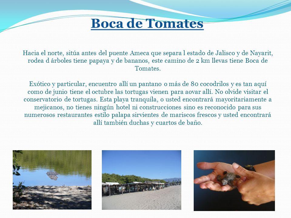 Boca de Tomates Hacia el norte, sitúa antes del puente Ameca que separa l estado de Jalisco y de Nayarit, rodea d árboles tiene papaya y de bananos, este camino de 2 km llevas tiene Boca de Tomates.