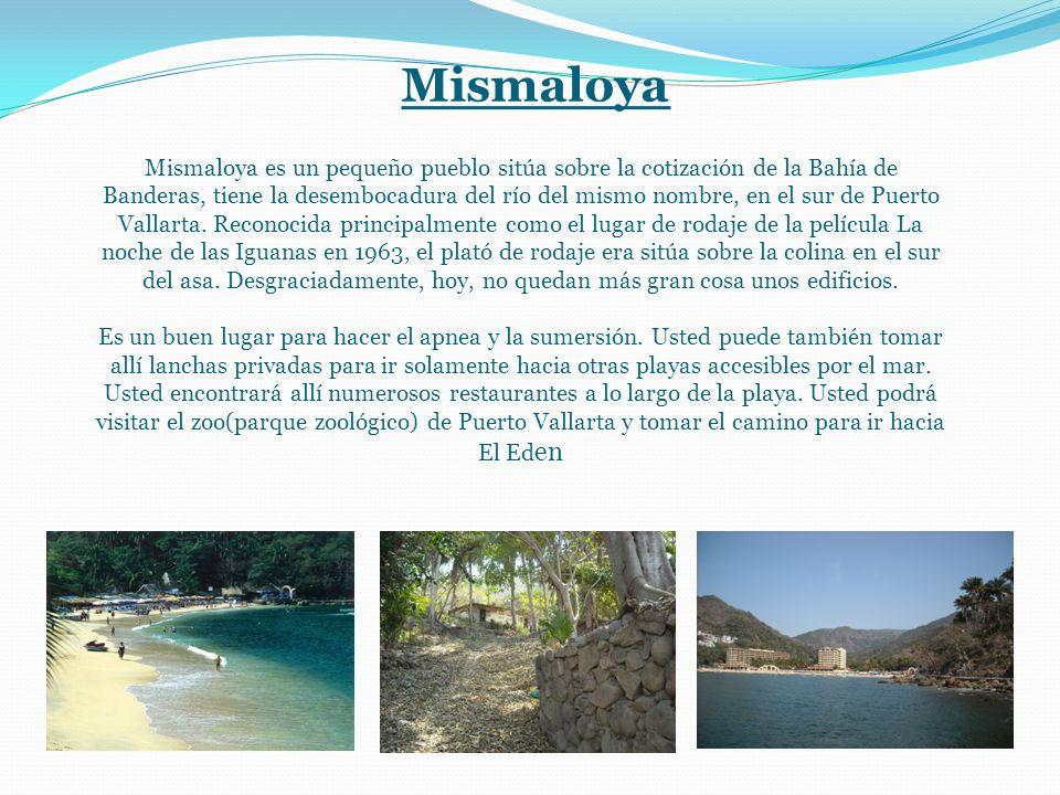 Mismaloya Mismaloya es un pequeño pueblo sitúa sobre la cotización de la Bahía de Banderas, tiene la desembocadura del río del mismo nombre, en el sur de Puerto Vallarta.