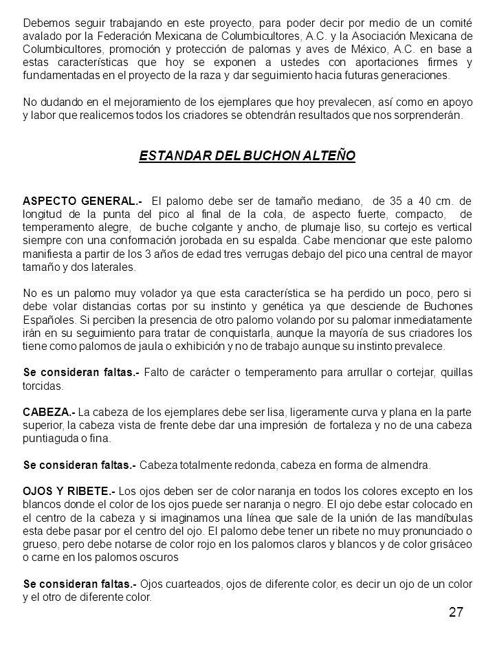 27 Debemos seguir trabajando en este proyecto, para poder decir por medio de un comité avalado por la Federación Mexicana de Columbicultores, A.C.