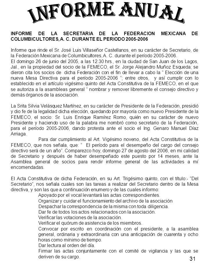 31 INFORME DE LA SECRETARIA DE LA FEDERACION MEXICANA DE COLUMBICULTORES, A. C. DURANTE EL PERIODO 2005-2006 Informe que rinde el Sr. José Luis Villas