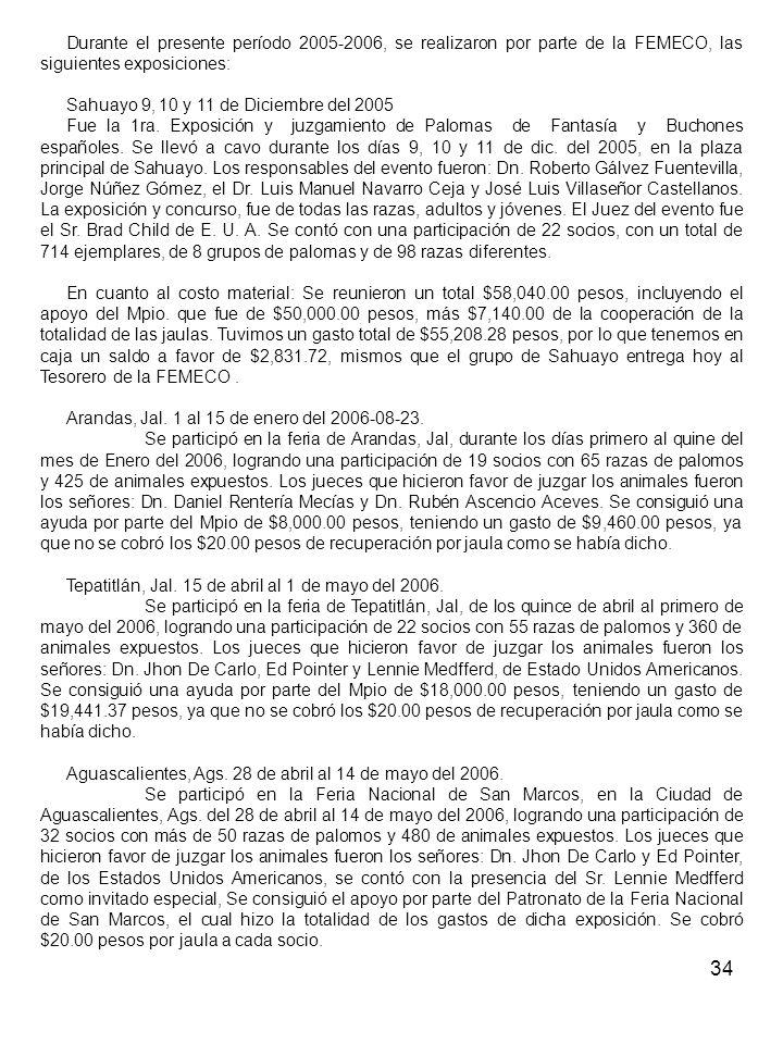 34 Durante el presente período 2005-2006, se realizaron por parte de la FEMECO, las siguientes exposiciones: Sahuayo 9, 10 y 11 de Diciembre del 2005 Fue la 1ra.