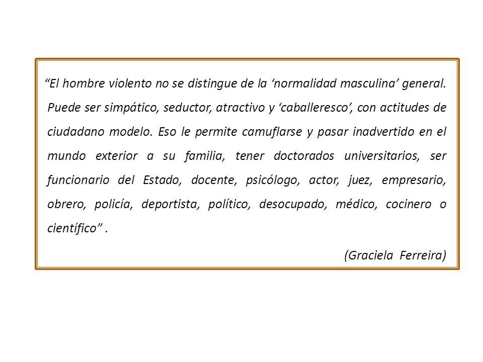 El hombre violento no se distingue de la normalidad masculina general.
