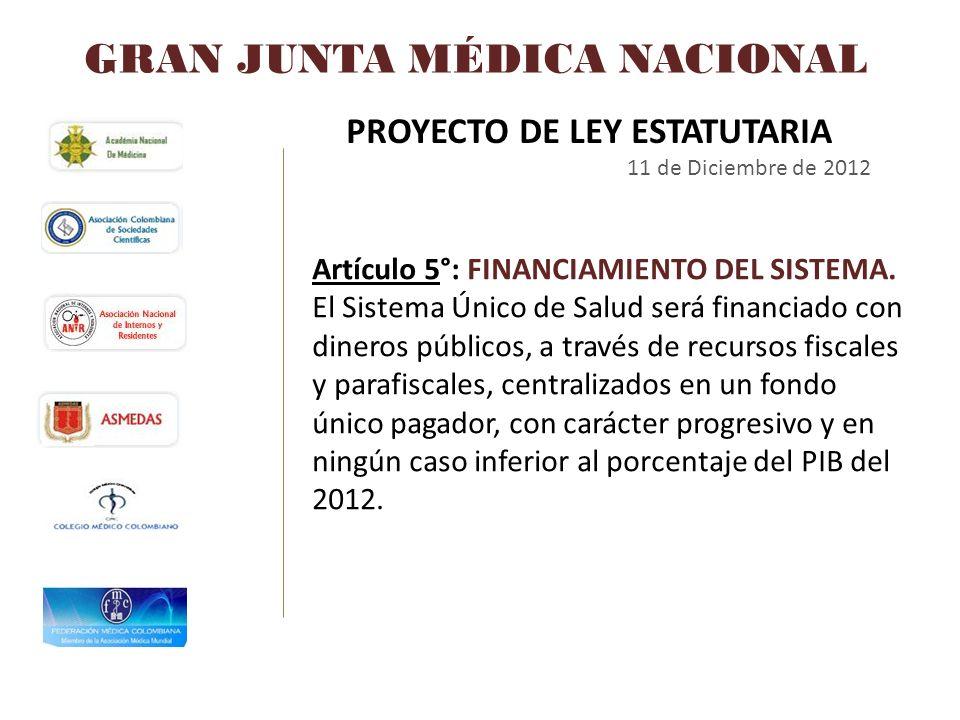 GRAN JUNTA MÉDICA NACIONAL PROYECTO DE LEY ESTATUTARIA 11 de Diciembre de 2012 Artículo 5°: FINANCIAMIENTO DEL SISTEMA. El Sistema Único de Salud será