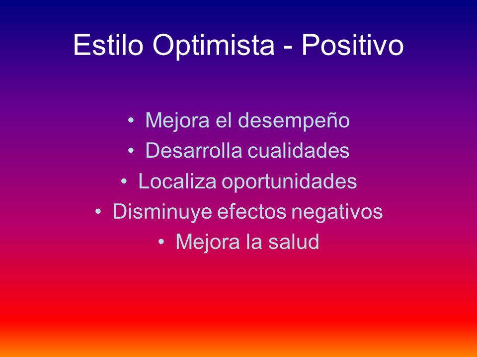 Estilo Optimista - Positivo Mejora el desempeño Desarrolla cualidades Localiza oportunidades Disminuye efectos negativos Mejora la salud