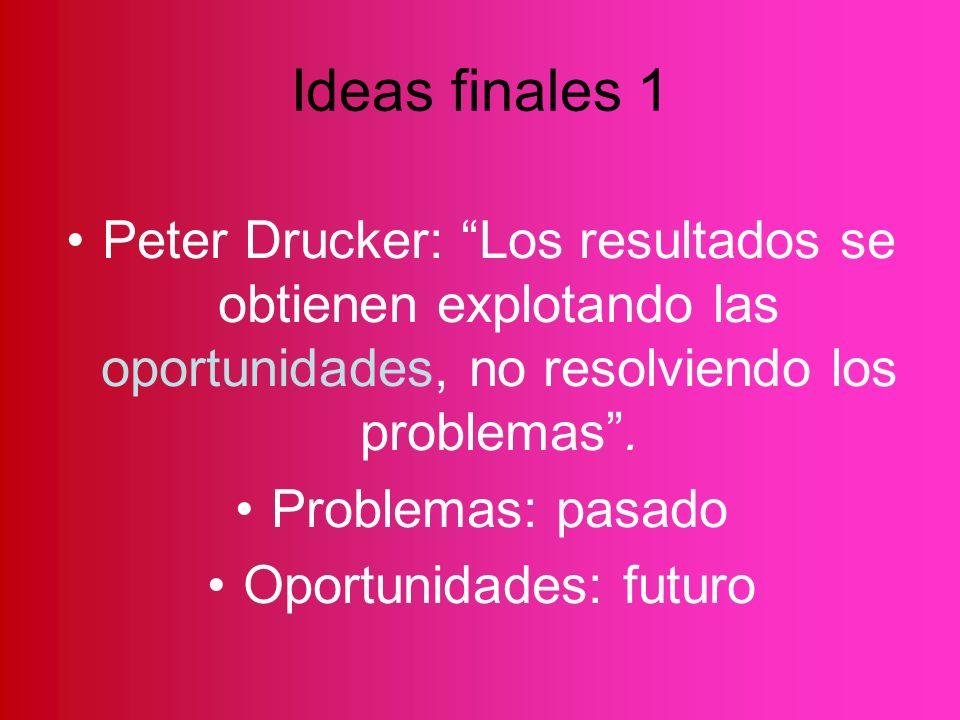 Ideas finales 1 Peter Drucker: Los resultados se obtienen explotando las oportunidades, no resolviendo los problemas. Problemas: pasado Oportunidades: