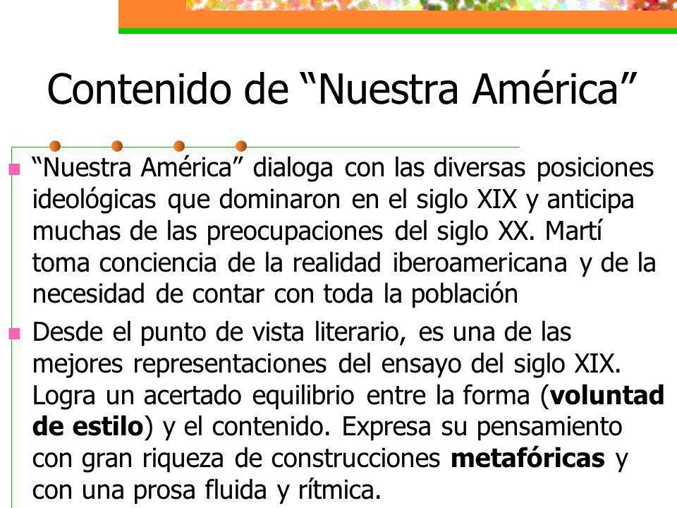 Contenido de Nuestra América Nuestra América dialoga con las diversas posiciones ideológicas que dominaron en el siglo XIX y anticipa muchas de las preocupaciones del siglo XX.