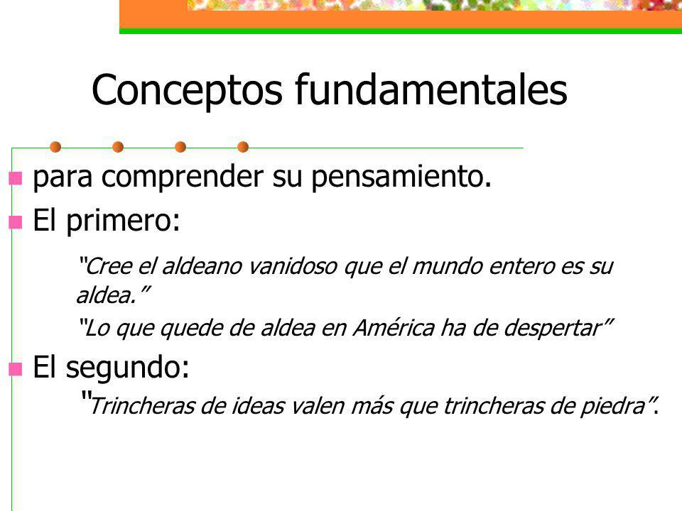 Conceptos fundamentales para comprender su pensamiento.