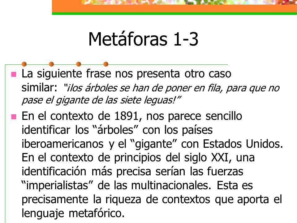 Metáforas 1-3 La siguiente frase nos presenta otro caso similar: ¡los árboles se han de poner en fila, para que no pase el gigante de las siete leguas.