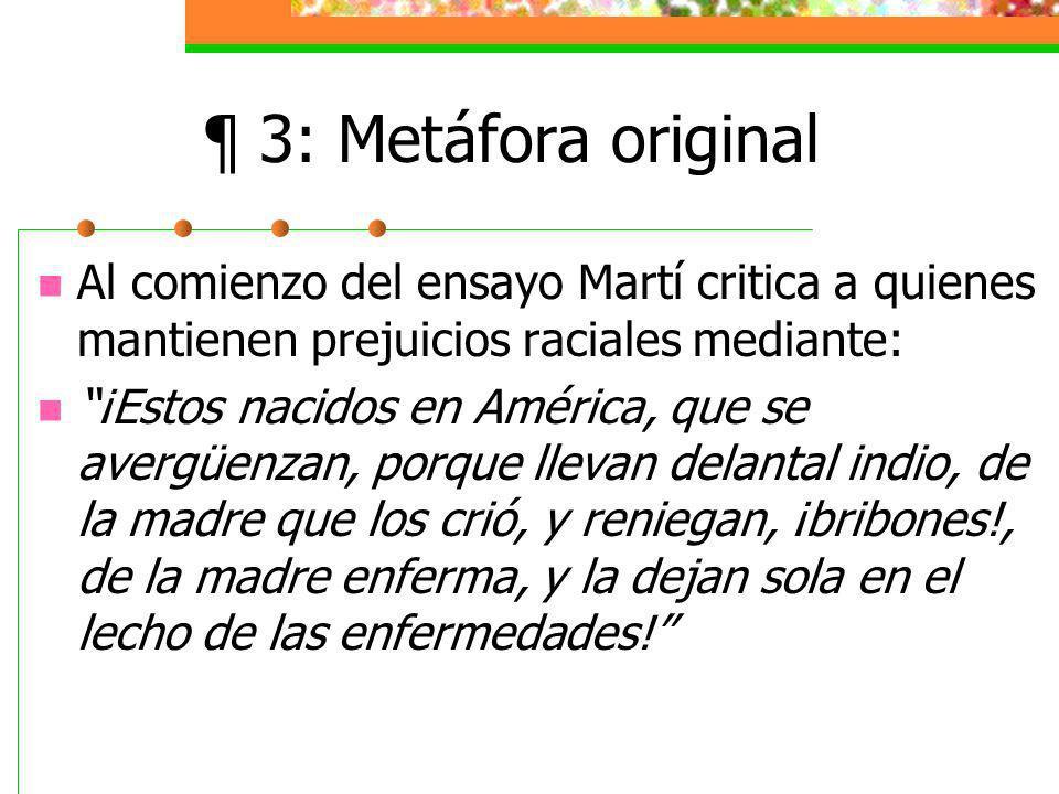 ¶ 3: Metáfora original Al comienzo del ensayo Martí critica a quienes mantienen prejuicios raciales mediante: ¡Estos nacidos en América, que se avergüenzan, porque llevan delantal indio, de la madre que los crió, y reniegan, ¡bribones!, de la madre enferma, y la dejan sola en el lecho de las enfermedades!