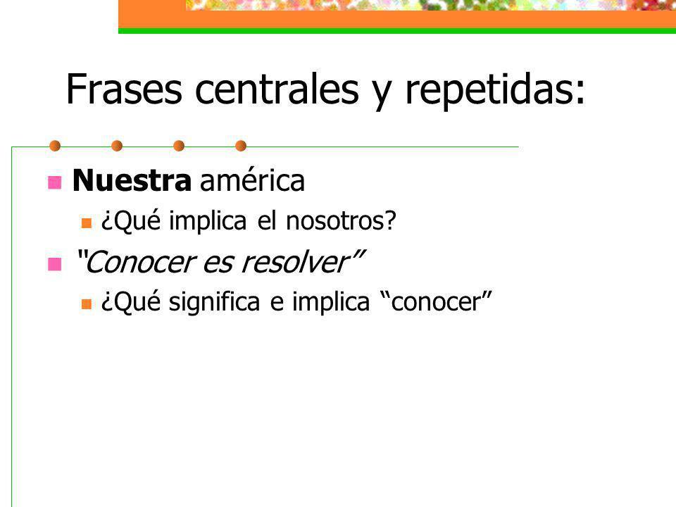 Frases centrales y repetidas: Nuestra américa ¿Qué implica el nosotros? Conocer es resolver ¿Qué significa e implica conocer