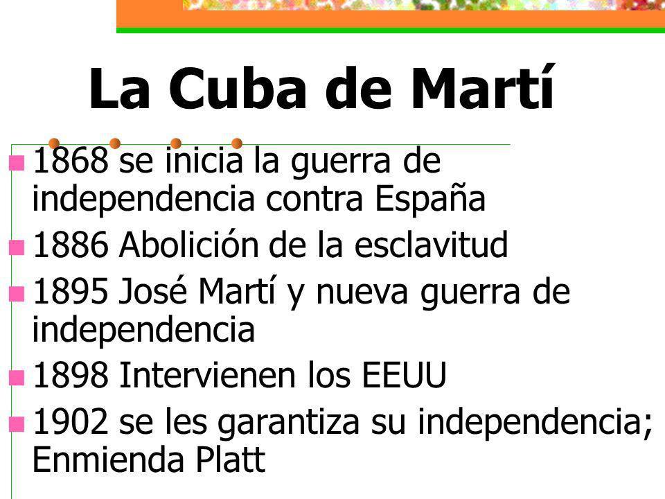 La Cuba de Martí 1868 se inicia la guerra de independencia contra España 1886 Abolición de la esclavitud 1895 José Martí y nueva guerra de independencia 1898 Intervienen los EEUU 1902 se les garantiza su independencia; Enmienda Platt
