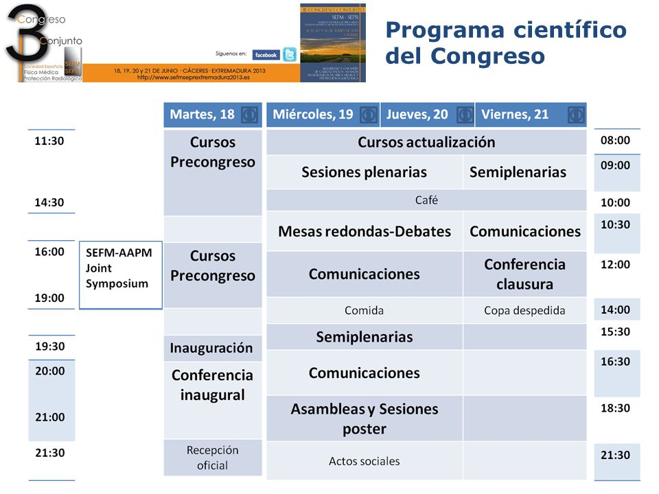 Programa científico del Congreso Ponencias y comunicaciones Miércoles 12:00-14:00 Sala Malinche Área 08.