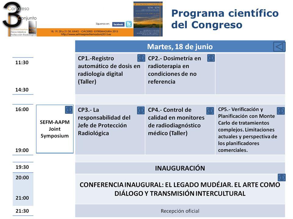Programa científico del Congreso Curso precongreso CP1 Martes 11:30-14:30 Sala Malinche Registro automático de dosis en radiología digital (Taller) PROFESORADO José Miguel Fernández Soto.