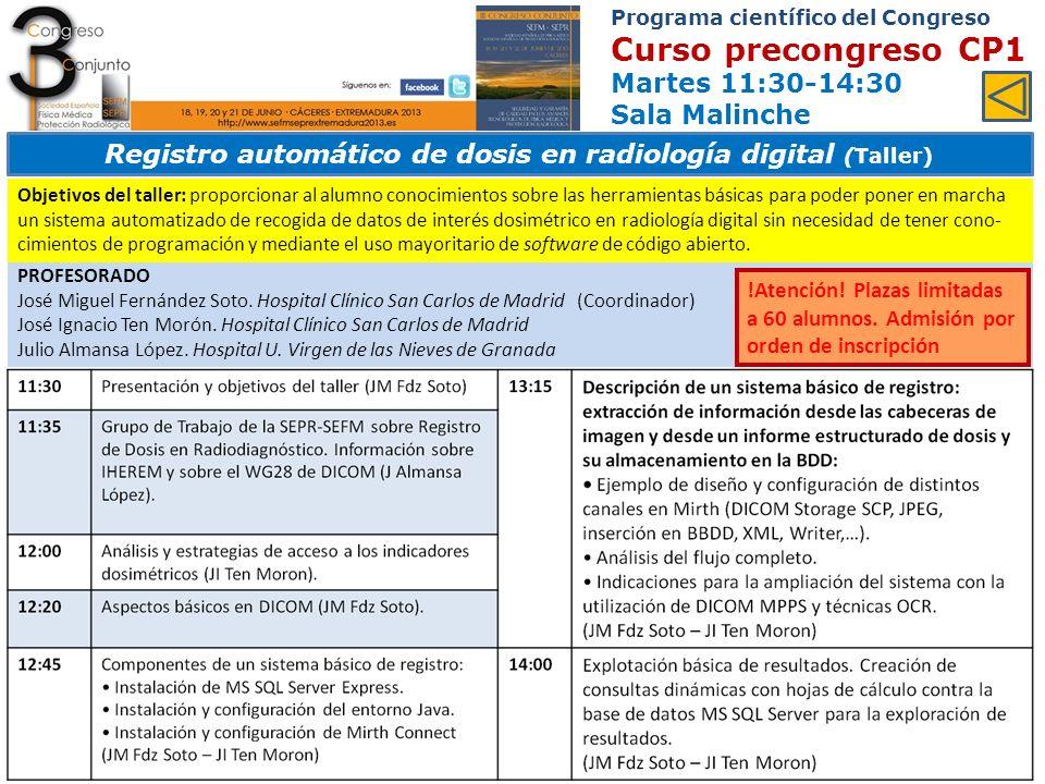 Programa científico del Congreso Ponencias y comunicaciones Miércoles 12:00-14:00 Sala Europa Área 12.