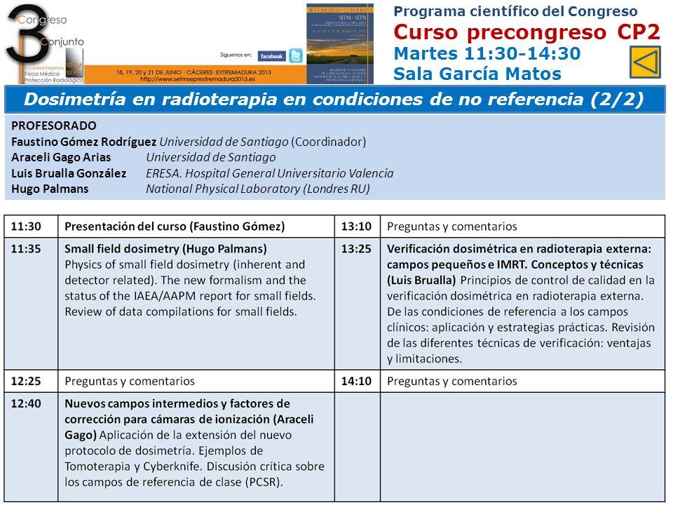 Programa científico del Congreso Ponencias y comunicaciones Viernes 10:30-12:30 Sala García Matos Área 13.