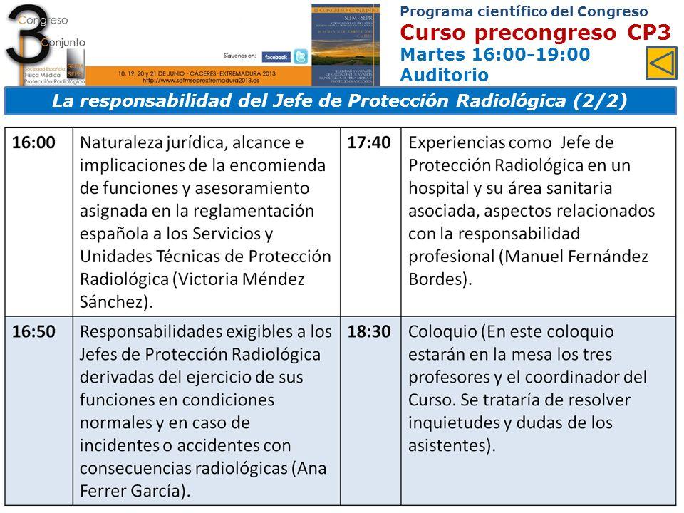 Programa científico del Congreso Curso precongreso CP4 Martes 16:00-19:00 Sala García Matos Control de calidad en monitores de radiodiagnóstico médico (Taller) PROFESORADO Manuel Fernández Bordes.