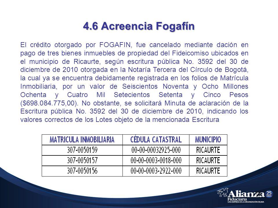 4.6 Acreencia Fogafín El crédito otorgado por FOGAFIN, fue cancelado mediante dación en pago de tres bienes inmuebles de propiedad del Fideicomiso ubicados en el municipio de Ricaurte, según escritura pública No.