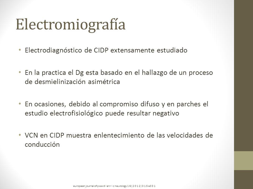 Electromiografía Electrodiagnóstico de CIDP extensamente estudiado En la practica el Dg esta basado en el hallazgo de un proceso de desmielinización a