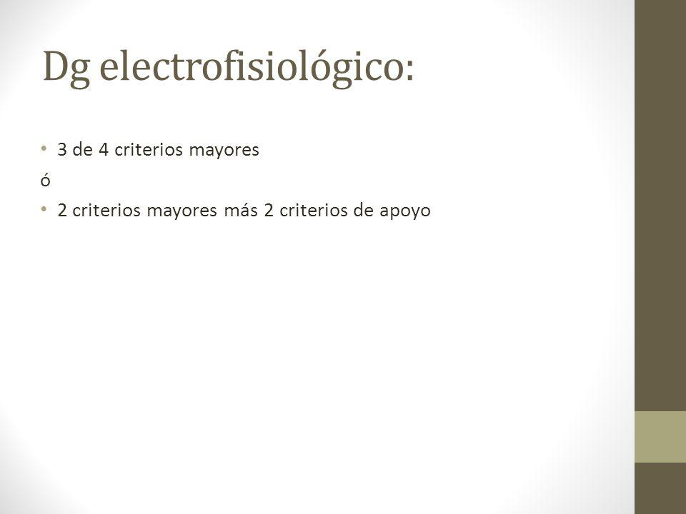 Dg electrofisiológico: 3 de 4 criterios mayores ó 2 criterios mayores más 2 criterios de apoyo