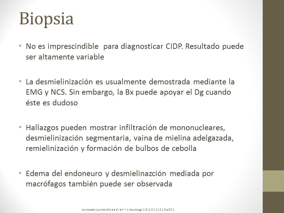 Biopsia No es imprescindible para diagnosticar CIDP. Resultado puede ser altamente variable La desmielinización es usualmente demostrada mediante la E