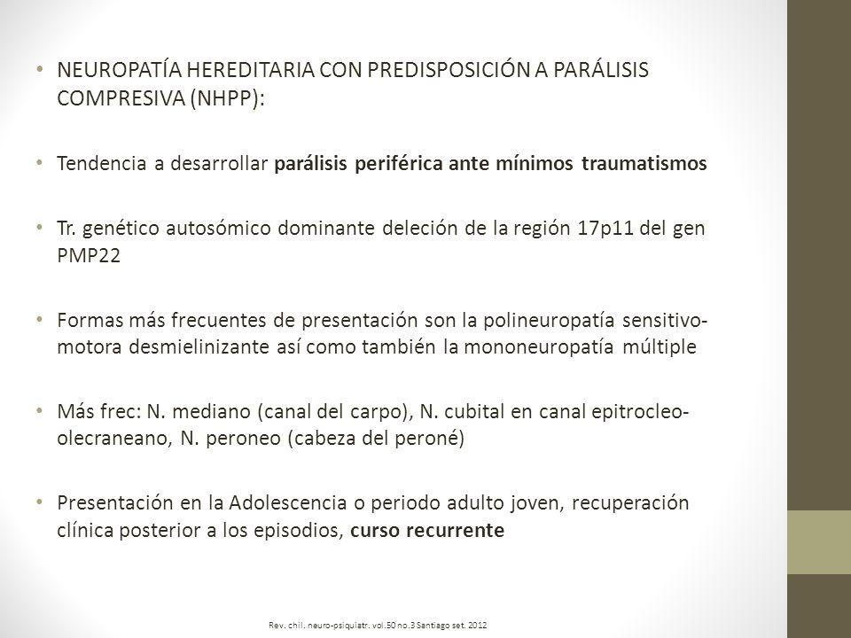 NEUROPATÍA HEREDITARIA CON PREDISPOSICIÓN A PARÁLISIS COMPRESIVA (NHPP): Tendencia a desarrollar parálisis periférica ante mínimos traumatismos Tr. ge