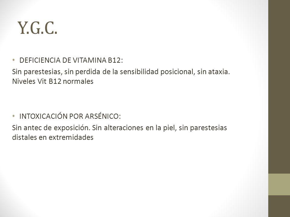 Y.G.C. DEFICIENCIA DE VITAMINA B12: Sin parestesias, sin perdida de la sensibilidad posicional, sin ataxia. Niveles Vit B12 normales INTOXICACIÓN POR