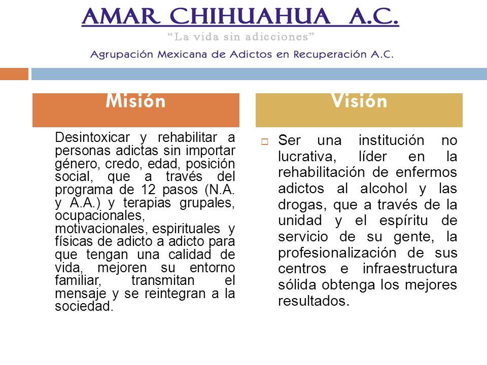Desintoxicar y rehabilitar a personas adictas sin importar género, credo, edad, posición social, que a través del programa de 12 pasos (N.A. y A.A.) y