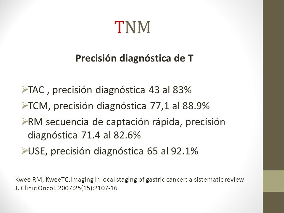 TNM Precisión diagnóstica de T TAC, precisión diagnóstica 43 al 83% TCM, precisión diagnóstica 77,1 al 88.9% RM secuencia de captación rápida, precisión diagnóstica 71.4 al 82.6% USE, precisión diagnóstica 65 al 92.1% Kwee RM, KweeTC.imaging in local staging of gastric cancer: a sistematic review J.