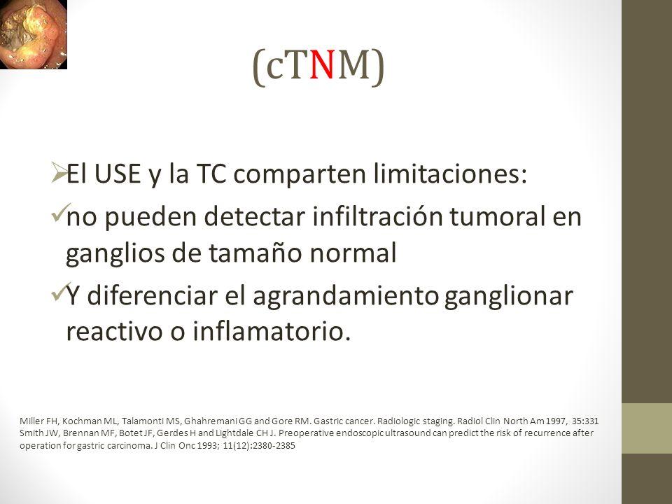 (cTNM) El USE y la TC comparten limitaciones: no pueden detectar infiltración tumoral en ganglios de tamaño normal Y diferenciar el agrandamiento gang
