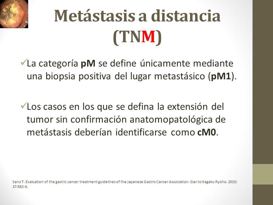 Metástasis a distancia (TNM) La categoría pM se define únicamente mediante una biopsia positiva del lugar metastásico (pM1). Los casos en los que se d