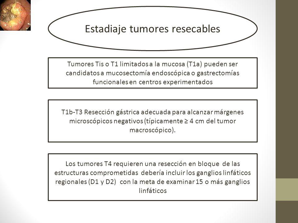 Estadiaje tumores resecables Tumores Tis o T1 limitados a la mucosa (T1a) pueden ser candidatos a mucosectomía endoscópica o gastrectomías funcionales