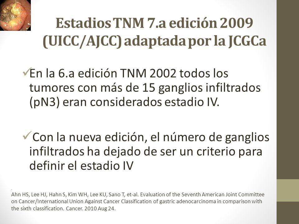 Estadios TNM 7.a edición 2009 (UICC/AJCC) adaptada por la JCGCa En la 6.a edición TNM 2002 todos los tumores con más de 15 ganglios infiltrados (pN3)
