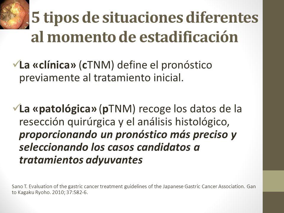 5 tipos de situaciones diferentes al momento de estadificación La «clínica» (cTNM) define el pronóstico previamente al tratamiento inicial. La «patoló