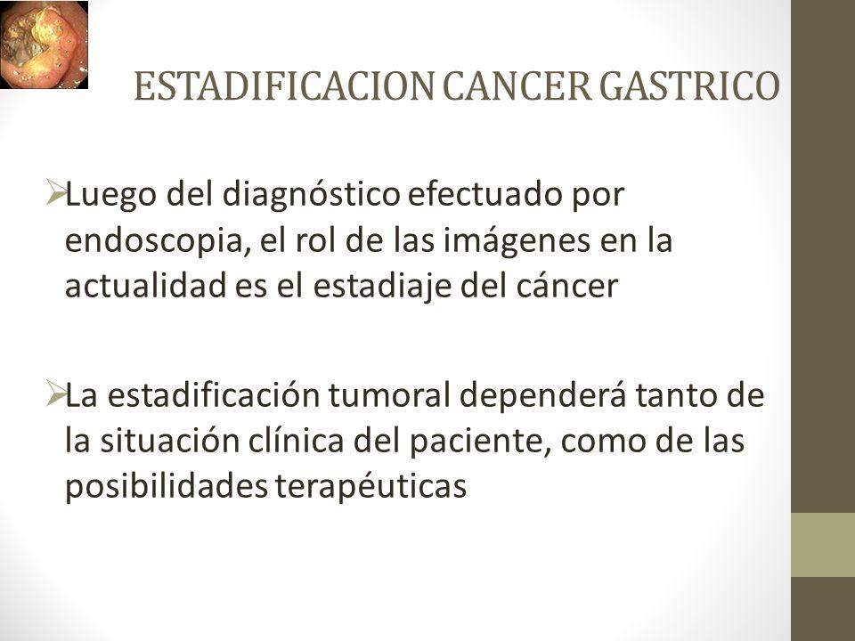 ESTADIFICACION CANCER GASTRICO Luego del diagnóstico efectuado por endoscopia, el rol de las imágenes en la actualidad es el estadiaje del cáncer La e