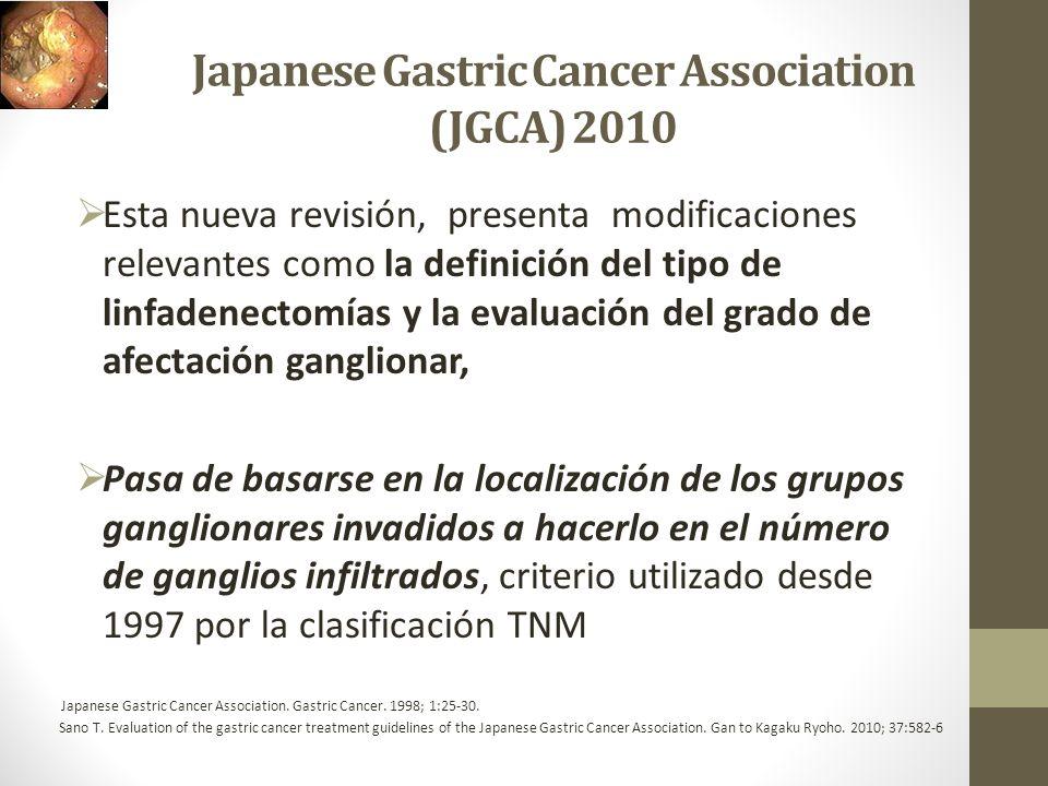Japanese Gastric Cancer Association (JGCA) 2010 Esta nueva revisión, presenta modificaciones relevantes como la definición del tipo de linfadenectomía