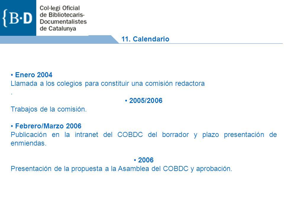 Enero 2004 Llamada a los colegios para constituir una comisión redactora.