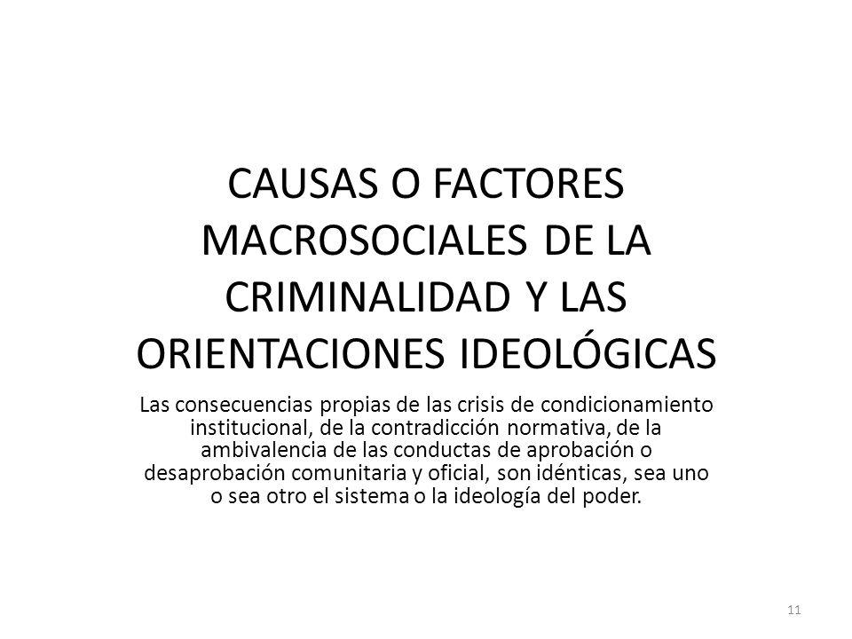 CAUSAS O FACTORES MACROSOCIALES DE LA CRIMINALIDAD Y LAS ORIENTACIONES IDEOLÓGICAS Las consecuencias propias de las crisis de condicionamiento institu
