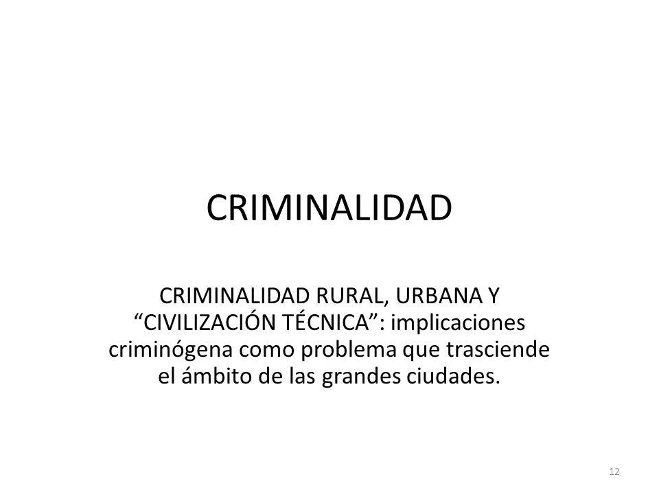 CRIMINALIDAD CRIMINALIDAD RURAL, URBANA Y CIVILIZACIÓN TÉCNICA: implicaciones criminógena como problema que trasciende el ámbito de las grandes ciudad