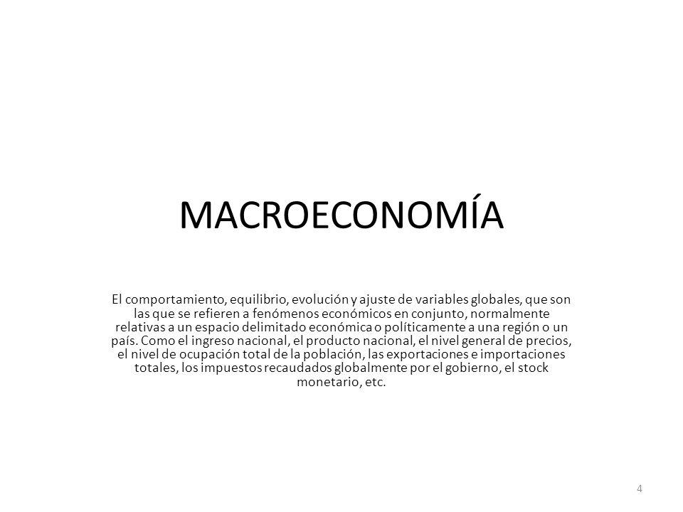 MACROECONOMÍA El comportamiento, equilibrio, evolución y ajuste de variables globales, que son las que se refieren a fenómenos económicos en conjunto,