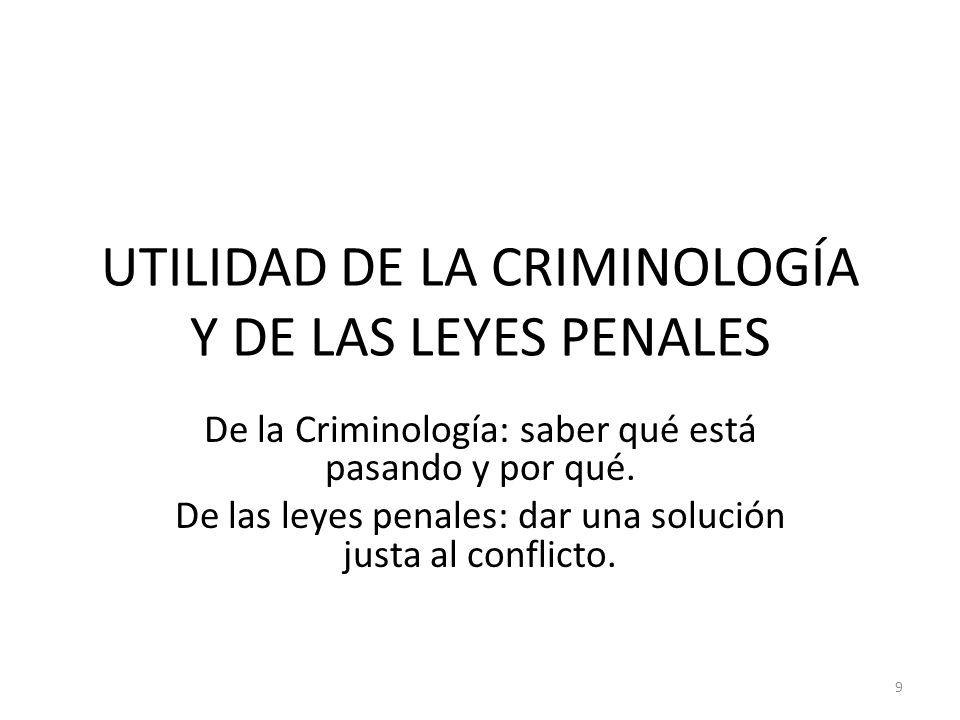 UTILIDAD DE LA CRIMINOLOGÍA Y DE LAS LEYES PENALES De la Criminología: saber qué está pasando y por qué. De las leyes penales: dar una solución justa